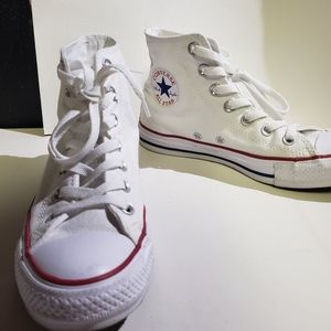 White Hightop Converse size 7
